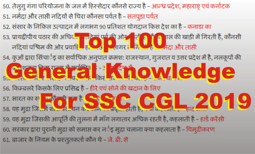 Top 100 General Knowledge For SSC CGL 2019