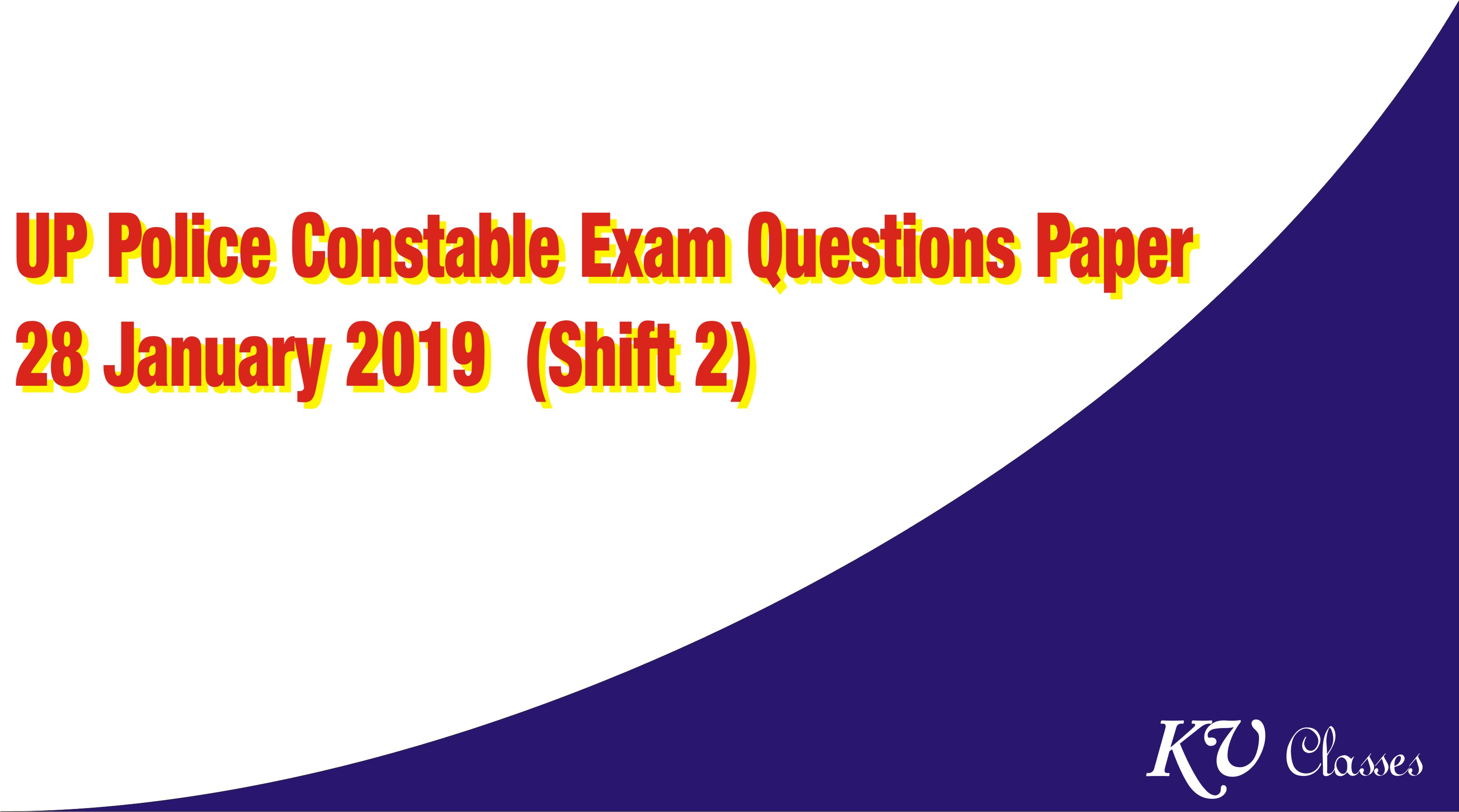 UP Police Constable 28 January 2019 Exam Questions Paper (Shift 2)