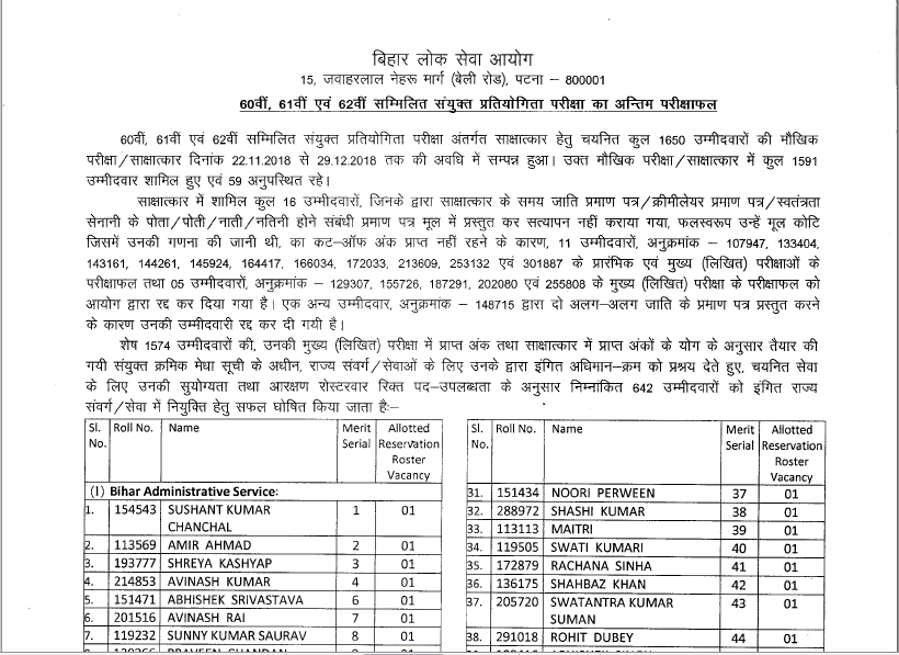 BPSC 60th to 62nd Final Result