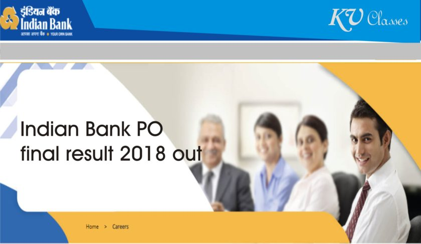 Indian Bank PO final result 2018 out