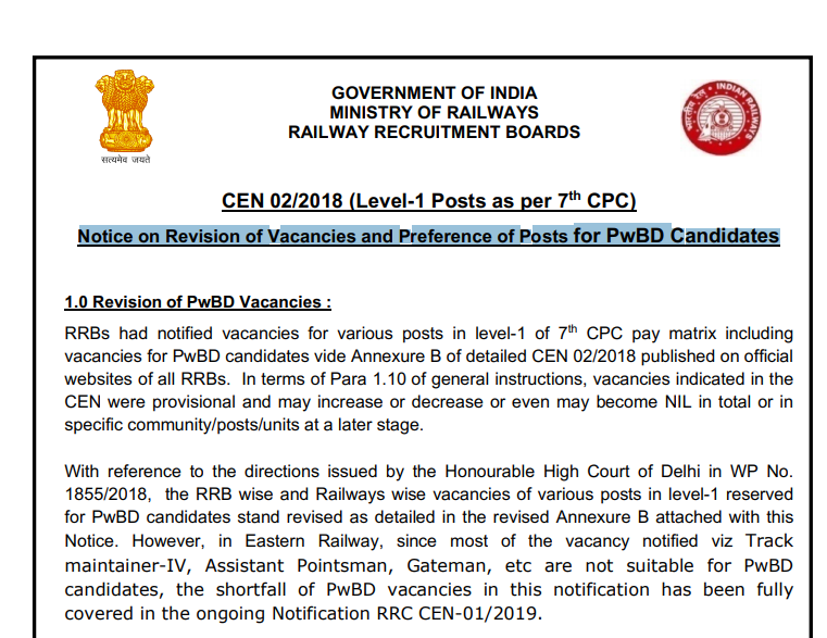 RRB Notice on Revision of Vacancies and Preference of Posts for PwBD Candidates