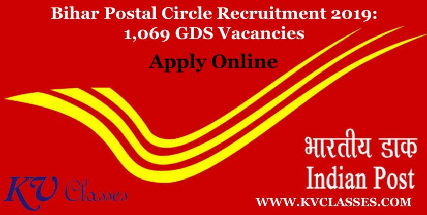 Bihar Postal Circle Recruitment 2019: 1,069 GDS Vacancies | Apply Online
