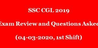 SSC CGL 2019 Exam Review and Questions Asked (04.03.220 - All Shift)