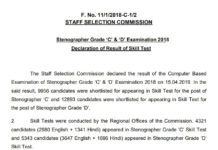 SSC Stenographer 2018 Skill Test Result Declared