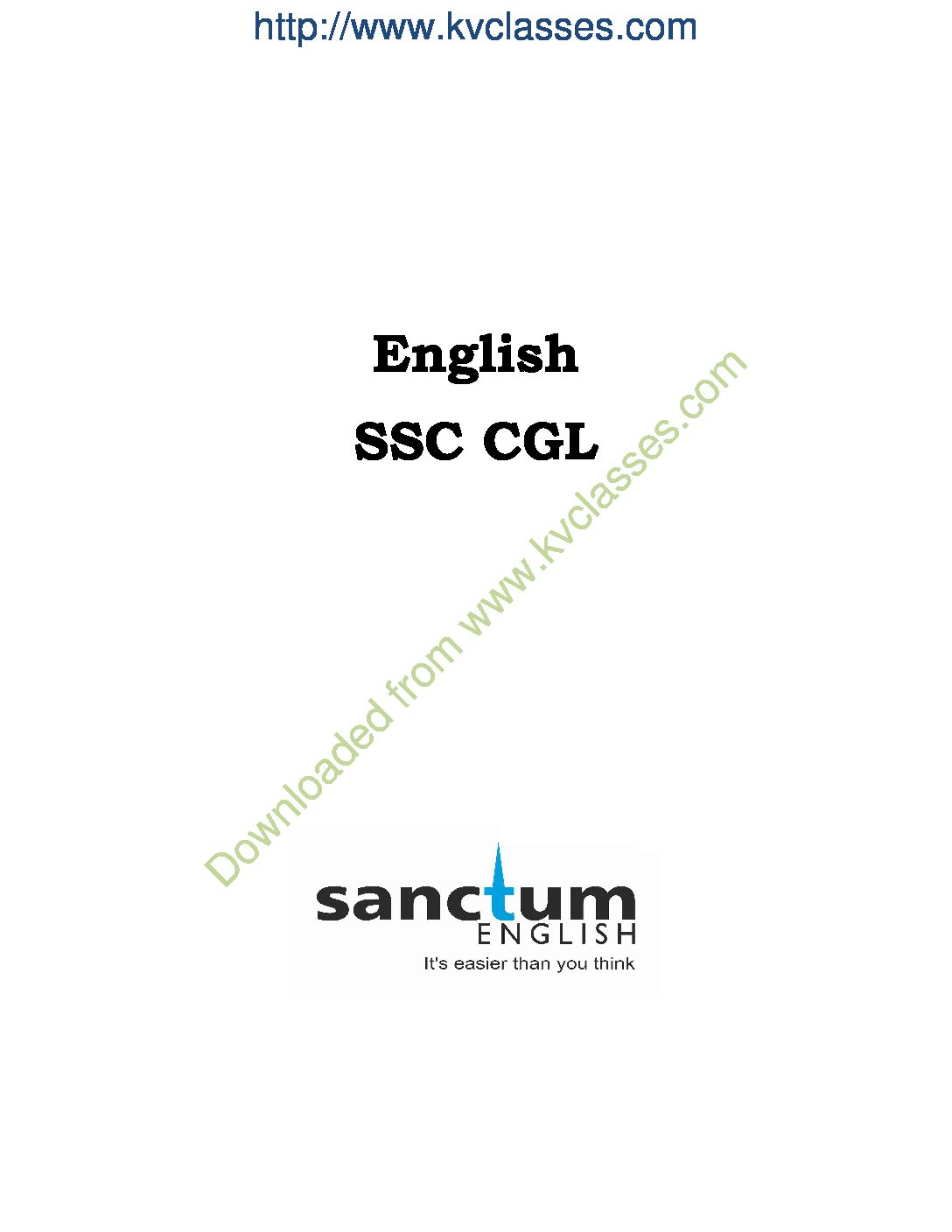 30 Days Program – SSC CGL Pre – Study Material( English)