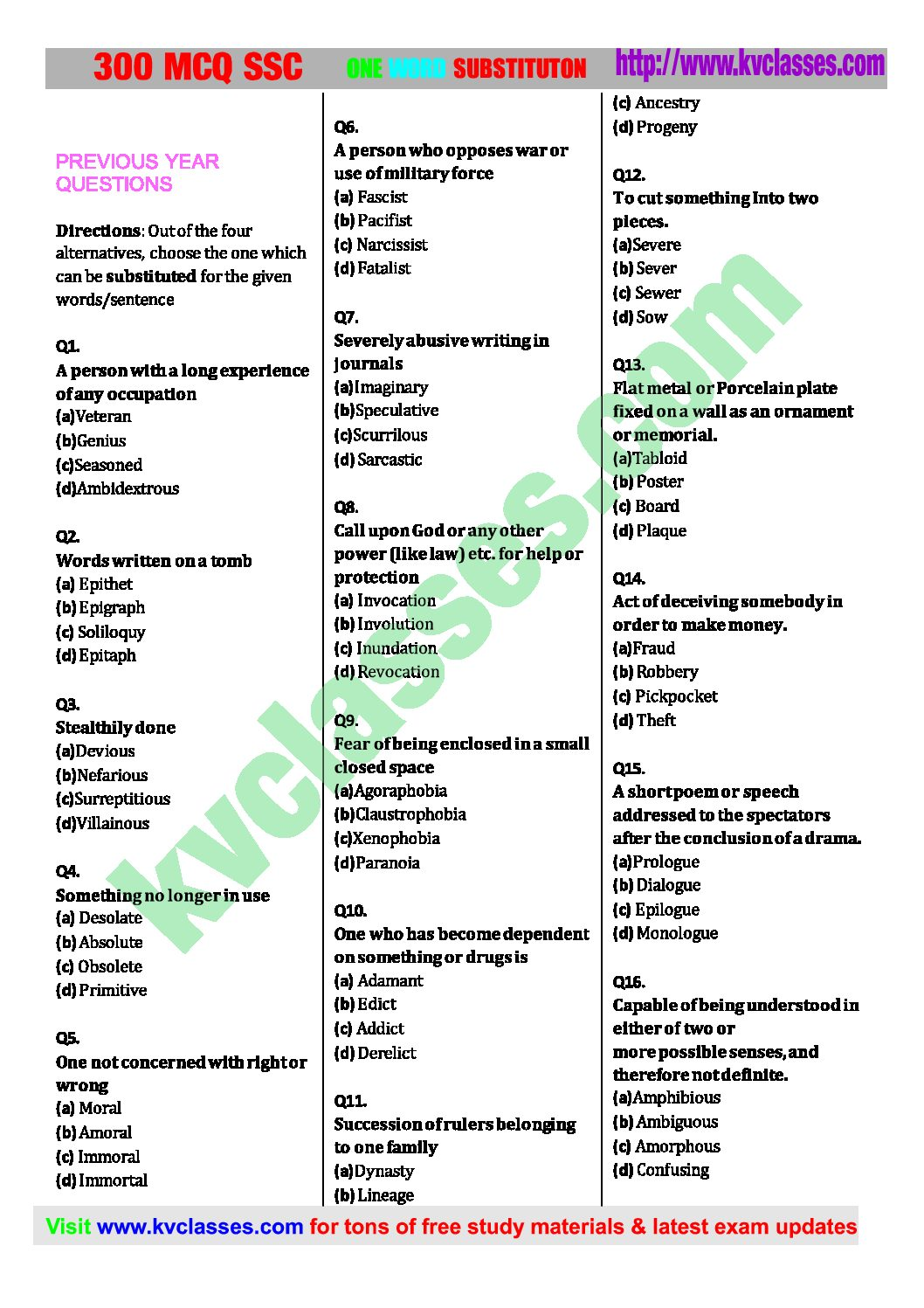 300 SSC MCQ PREVIOUS ONE WORD SUBSTITUTION