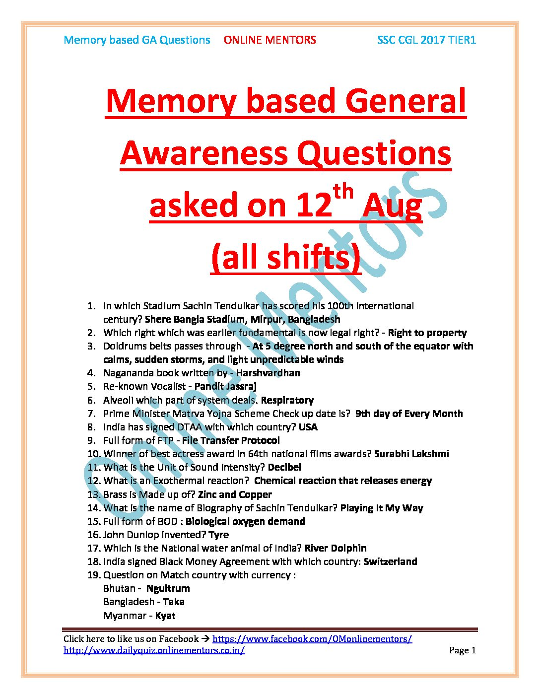 12 Aug All shift SSC CGL GK QUESTIONS PDF DOWNLOAD