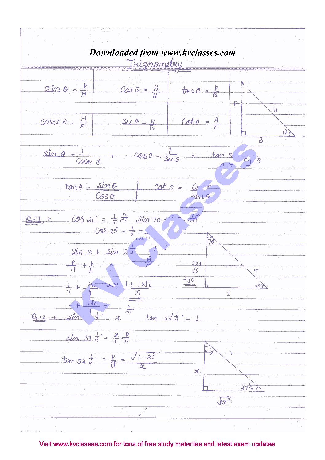 SSC Math Handwritten Notes in Hindi Archives - KVClasses