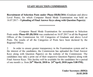 Recruitment of Selection Posts under Phase-III(B)/2016 (Graduate and above Level Posts): Uploading of Final Answer Keys