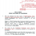 SSC IMPORTANT NOTICE FROM DESK OF CHAIRMAN