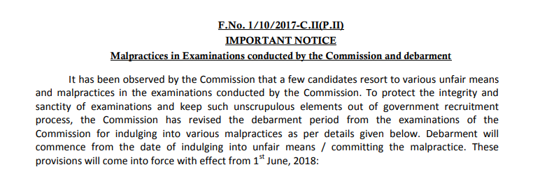 IMPORTANT NOTICE : Malpractices in Examinations conducted by the Commission and debarment