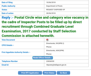 Zone wise Vacancy Position of Inspector posts for CGL 2017