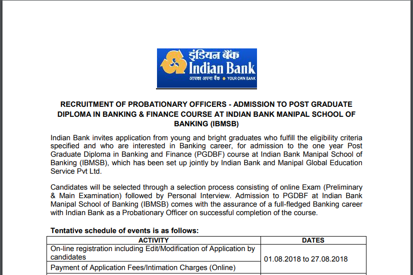 Indian Bank PO Online Form 2018