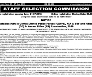 SSC GD Constables 2018 Recruitment Notification PDF