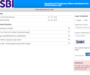 SBI Admit Card 2018 – PO (Prelims) Call Letter Download Now