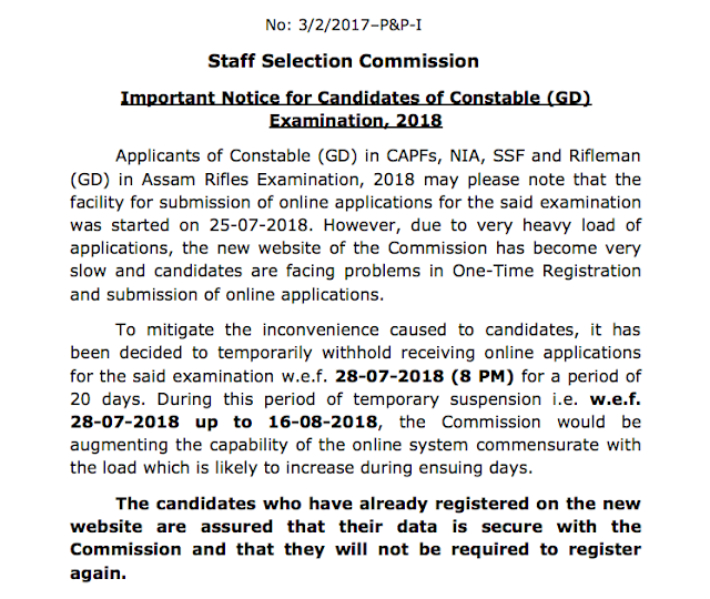 SSC Notice for Constables GD 2018 Examination (Registration Postponed)