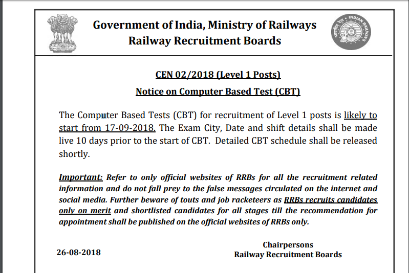 Railways Group D Exam Date