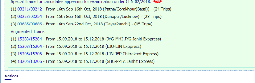 Special Trains List for Candidates Appearing for Railway Group-D Examination