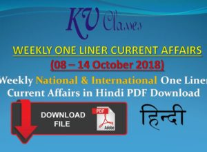 Weekly National & International One Liner Current Affairs in Hindi
