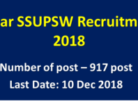 Bihar SSUPSW Recruitment 2018 : Apply Online