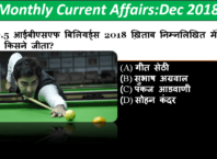 Monthly Current Affairs Quiz December 2018 PDF