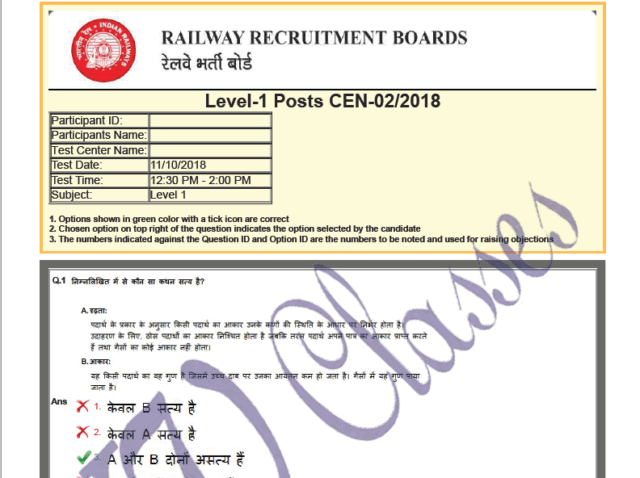 RRB Group D Question Paper 2018 PDF Download
