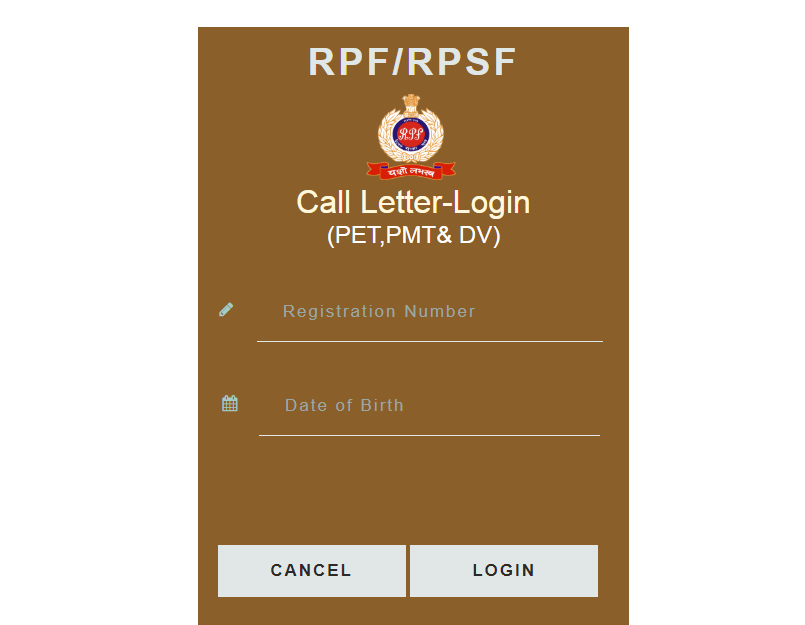 RPF Constable Call letter 2018