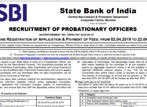 SBI PO 2019 Notification Out Download PDF
