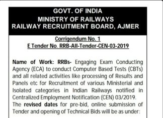 E-Tender No.RRB AII Tender-CEN-03-2019 Laest Update